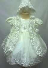 BABY GIRLS WHITE IVORY CHRISTENING DRESS ROBE CHRISTENING GOWN BABY NAMING DRESS