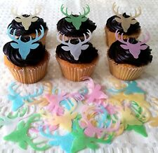 24 Edible Cupcake Topper Deer Reindeer Christmas Rice Paper Cake Decoration