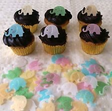 40 Edible Rice Paper Mini Elephant Baby Shower Cupcake Topper Cake Decoration