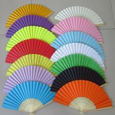 Retro Hand Paper Fans Wedding Party Favors Pocket Folding Bamboo Fan Solid Color