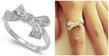 Sterling Silver 925 WOMEN'S MICRO PAVE BOW DESIGN CLEAR CZ RING 11MM SIZES 5-10