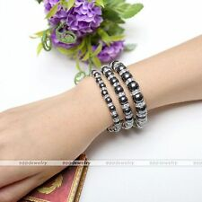 Pain Relief Powerfull Therapy Black Hematite Crystal Spacer Bead Bracelet Bangle