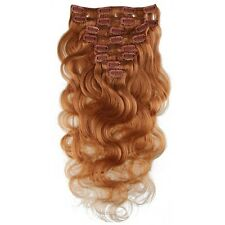 """120g Clip In Remy Human Hair Extensions Body Wave 18""""  20"""" 22"""" 24"""" Honey Blonde"""