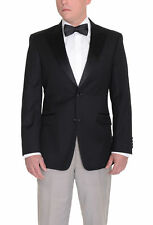 Tommy Hilfiger Trim Fit Solid Black Wool Tuxedo Blazer With Peak Lapels