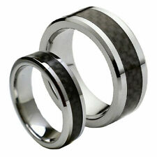 His & Her's 8MM/6MM Tungsten Carbide Black Carbon Fiber Wedding Band Ring set
