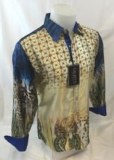 Mens CALVETTI Designer Shirt Woven Button Down Sport Colorful Jewels Paisley
