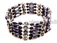 "SALE Round 6mm Black Cloisonne Hematite Magnetic Bead 30"" Necklace/Bracelet-b280"