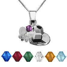 925Sterling Silver Necklace Birthstones Charms Heart Crystals from Swarovski®