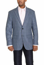 Greg Norman For Tasso Elba Blue Houndstooth Two Button Blazer Sportcoat