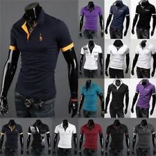 Cool Mens Slim Fit Stylish POLO Shirt Short Sleeve Casual T-shirts Tee Tops