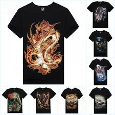 Fashion Mens 3D Print Animal Skull Tiger Wolfs Crew Neck Top Tee T Shirt M-XXXL
