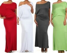 Plus Dress Maxi Off Shoulder Draped On Women Long Asymmetric Jersey Casual New