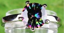 18K W GOLD EP 1.0CT MYSTIC RAINBOW TOPAZ SOLITAIRE RING sizes 6-12 u choose