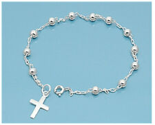 ".925 STERLING SILVER 3MM ROSARY BRACELET CROSS CHARM PENDANT-Length 7"" & 7.5"""