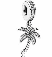 100% 925 Sterling Silver sparkling Palm Tree with clear CZ dangle Charm bracelet