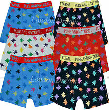 New Mens Boy Boxer Shorts Cannabis Weed Boxer Trunks Assorted WEED PLANT Pattern