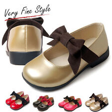 Kids Girls Leather Shoes Black/Gold/Red/Rose Ribbon Bowtie Dress Dance Shoes
