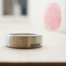 fingerprint couple rings Personalized engraved silver promise engagement rings