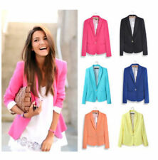 Fashion Womens Long Sleeve One Button Candy Color Blazer Casual Jacket Suit Coat