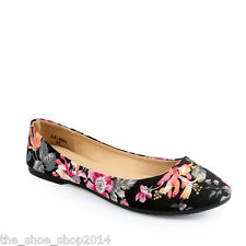 New Ladies Womens Floral Print Moccasin Pumps Flat Casual Shoes Sizes - LZ9801