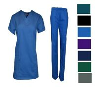 Medical Nursing Men Women Solid Scrub Set Top Pants Hospital Clinic Uniform NWT