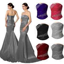 Womens Mermaid Formal Long Evening Prom Dress Bridesmaid Wedding Party Gown 4 6