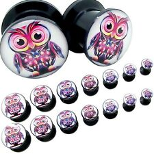 2 Owl Tunnel Piercing Acryl Logo Plug Flesh Black Sets to Screw Ø 8 Gauge-1/2""