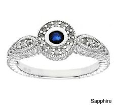 Vintage Style Round Blue Sapphire and Diamond Ring in Sterling Silver