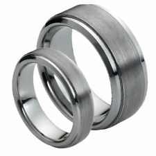 His & Her's 7MM/5MM Tungsten Carbide Step Edge Brushed Wedding Band Ring set