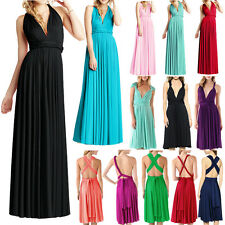 Womens Convertible Bridesmaid Wrap Long Party Evening Cocktail Halter Maxi Dress