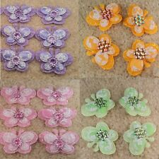 40 100 Padded Butterfly W/ Rhinestone Applique Sewing Wedding Craft 4x3cm 4Color