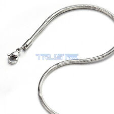 "1.2 - 3.2mm 18"" inch Silver Stainless Steel Round Snake Necklace Chain Men Women"