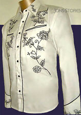 WHITE SHIRT & BLACK EMBROIDERY WESTERN COWBOY ROCKABILLY LINE DANCING  Sm - 3XL