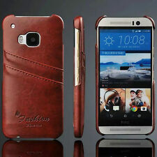 For HTC ONE M9 Vintage PU Leather Card Slot Pouch Wallet Hard Back Case Cover