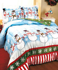 SNOW MAN FLAKE COMFORTER PILLOW SHAM CHRISTMAS HOLIDAY CANDY CANE KING QUEEN NEW