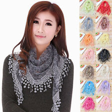 Women Lace Hollow Neck Wrap Tassel Flower Floral Print Long Scarf Triangle Shawl
