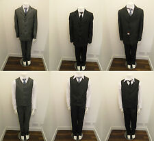 5 Pc Boys Kids Black Grey Party Formal Wedding Suit Waistcoat Tie Age 1 - 13 Yr