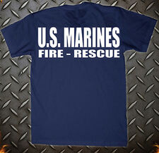 US MARINE CRASH CREW FIRE RESCUE NAVY  FIRE DEPARTMENT T-SHIRT