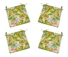 Set of 4 - Outdoor Pink Green Tropical Floral Foam Chair Cushions - Choose Size