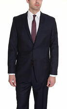 Alfani RED Slim Fit Blue Pinstriped Two Button Wool Blend Suit With Peak Lapels