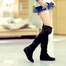 Fashion Womens Hidden Wedge Middle Heel Suede Knight Over The Knee Boots