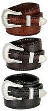 Mens Ranger Ostrich Genuine Leather Western Southwestern Cowboy Jean Casual Belt