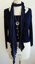 C33 Lagenlook Crop Swing Top with matching Scarf in Navy Made to Order