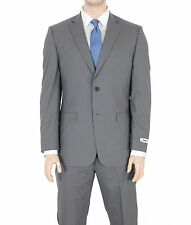 DKNY Mens Trim Fit Gray Striped Two Button Wool Suit