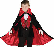 Child Victorian Vampire Red Black Cape Costume Jacket Vest Jabot Halloween Boys