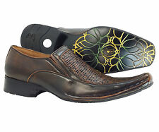 Men's Dress Shoes Bravo Brown Slip on Majestic Leather Lining Italian Loafers