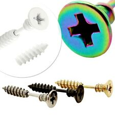 1 Pair Stainless Steel Fakeplugs Screw Cross Slot Earring Fake Tunnel Piercing