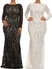 PLUS SIZE BLACK WHITE CROCHET CUT OUT LACE HOURGLASS MERMAID MAXI DRESS GOWN