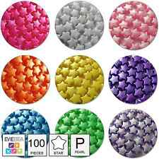 100 x PEARL Star Shaped Pony Beads 13mm Plastic