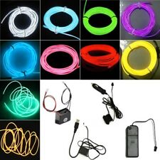 Neon LED Light Glow EL Wire Strip Rope Tube Car Dance Party Decor&Controller